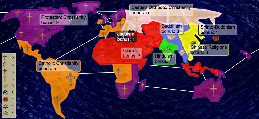 Five World Religions World History Final - World map showing religion